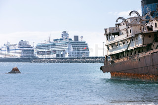 Old and modern ships in Arrecife, Lanzarote, Canary Islands