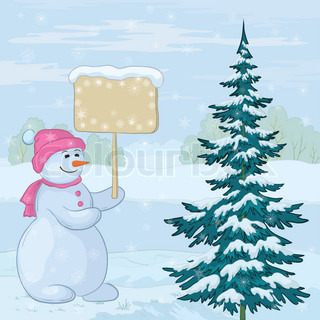 Christmas cartoon, snowmen woman with the poster for your text in the winter forest