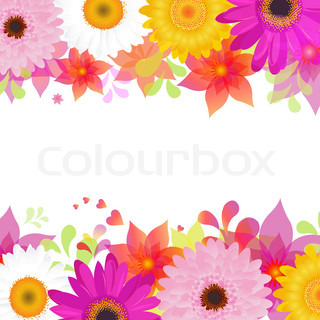 Flower Background With Gerbers And Leafs, Isolated On White Background, Vector Illustration