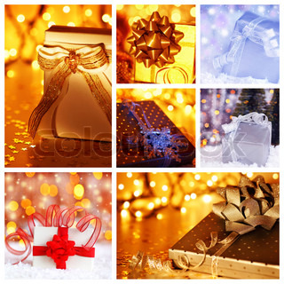 Winter holidays concept collage with collection of colorful Christmas gift boxes decorations & ornaments