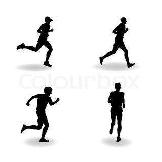Vector silhouettes of runners