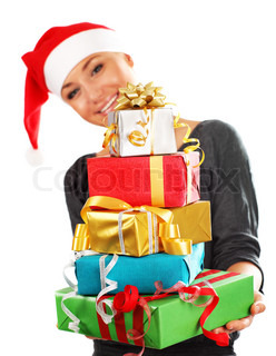 Santa Claus girl with colorful holiday presents & gift boxes as Christmas & new year ornament decoration isolated on white background