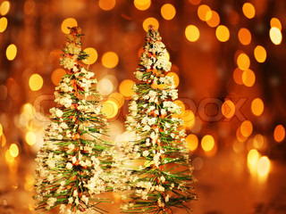 Christmas tree holiday background with winter ornament & defocus lights decoration