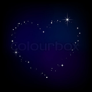 Star heart in night sky