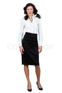 businesswoman in a blouse and skirt on a white background