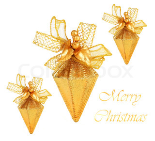 Golden Christmas tree ornaments and holiday decorations isolated on white background