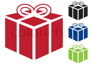 Web icon for gift or present in simple colours