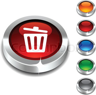Recycle bin 3d button set Vector illustration
