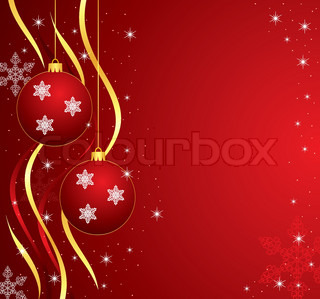 vector holiday illustration with balls, ribbons, stars and snowflakes