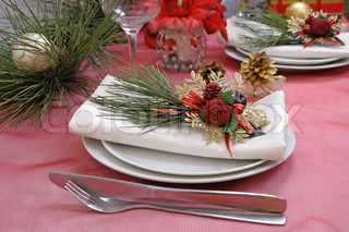 Fragment table setting for Christmas and New Year
