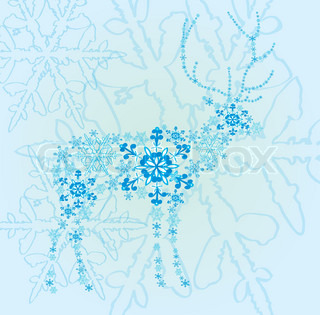 Abstract design of a deer from snowflakes