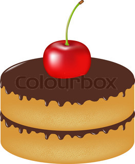 Birthday Cake With Cherry, Isolated On White Background, Vector Illustration