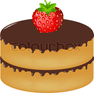 Birthday Cake Wit Strawberry, Isolated On White Background, Vector Illustration