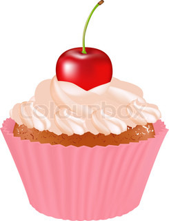 Cupcake With Cherry, Isolated On White Background, Vector Illustration