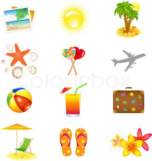 12 VacationAnd Travel Icons, Isolated On White Background, Vector Illustration
