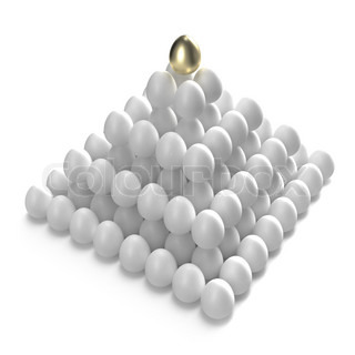 Hierarchy and management: golden egg at the top of the other ones