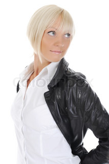 beautiful smiling girls in a leather jacketIsolated on white background