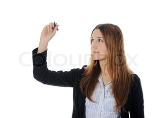 woman holding a pen Isolated on white background