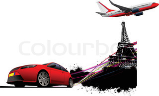 Paris on the Eiffel tower grunge background with red car coupe and passenger plane images Vector illustration