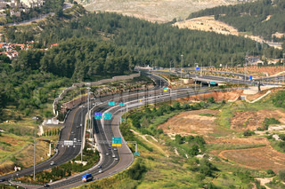 Aerial view on Highway among hills in Jerusalem, Israel