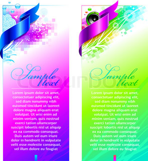 Abstract colorful vector design with satin ribbon