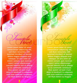 Abstract floral vector design with satin ribbon