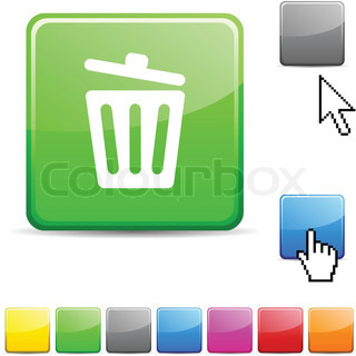 Recycle bin glossy button