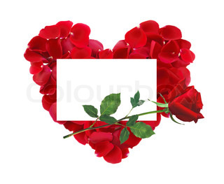 beautiful heart of red rose petals, red rose flower and greeting card isolated on white
