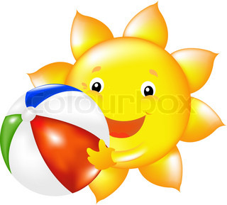 Happy Sun With Beach Ball, Vector Illustration