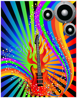 illustration music background with guitar and rainbow
