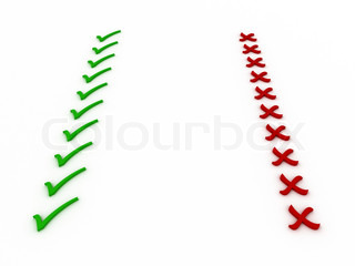 Checkmark and X Right/Wrong, Yes/No, Check/Cross
