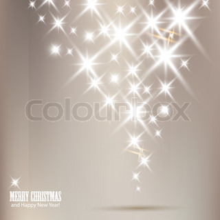 Elegant Christmas background with shiny stars and place for text Vector Illustration