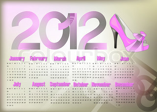 Stylish abstract calendar on 2012 year with pink shoe.