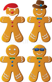 four variants of vector gingerbread cookies