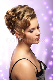 Modern wedding hairstyle. purple background