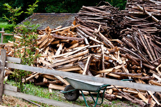 Piles of wood sticks and wheelbarrow behind wooden fence
