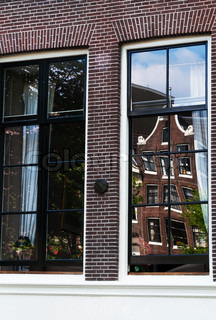 Large windows with great reflections in Amsterdam, Netherlands