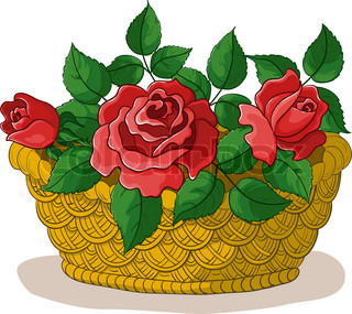 Vector, wattled basket with flowers red roses and green leaves