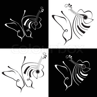 Music and Butterfly - abstract vector lineart Black and white illustration Fine art