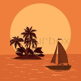 Sailing boat with a people floating in the tropical sea against the backdrop of the island with palm and sun Vector