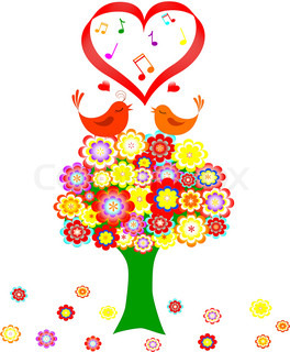 Tree in colorful flower with love bird on white background. vector illustration