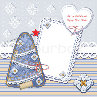New Year and Christmas card Christmas frames with denim Christmas trees and lace seamless jeans decorative background