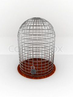 Empty bird cage isolated on white background