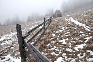 snow fence in winter, good background image