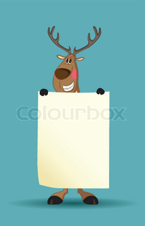 Reindeer holding a long blank paper blushing
