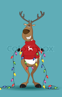 Reindeer in red jumper holding a line of light-bulbs, smiling