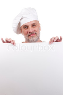 Portrait of a chef holding a blank sign for your text