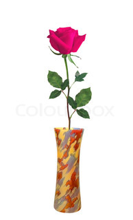 Pink Rose in colorful vase isolated over white