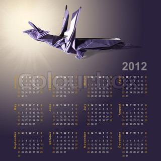 Symbol der 2012 Jahre - Dragon aus Papier Origami und Kalender für das Gesamtjahr aus