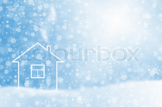 Winter snow Christmas background with snowflakes and stars